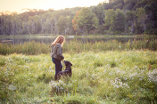 Women with dog at Mill Pond Newbury MA