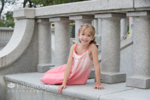 Portrait of young girl pink dress